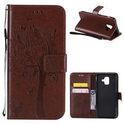 Embossing Butterfly Tree Leather Wallet Case for Samsung Galaxy A6 (2018) - Brown