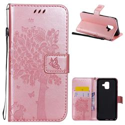 Embossing Butterfly Tree Leather Wallet Case for Samsung Galaxy A6 (2018) - Rose Pink