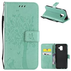 Embossing Butterfly Tree Leather Wallet Case for Samsung Galaxy A6 (2018) - Cyan