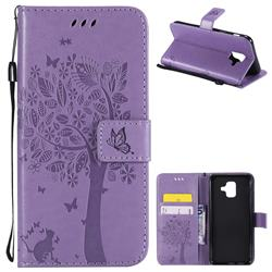 Embossing Butterfly Tree Leather Wallet Case for Samsung Galaxy A6 (2018) - Violet