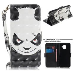 Angry Bear 3D Painted Leather Wallet Phone Case for Samsung Galaxy A6 (2018)