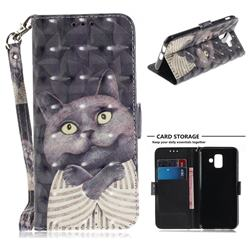 Cat Embrace 3D Painted Leather Wallet Phone Case for Samsung Galaxy A6 (2018)