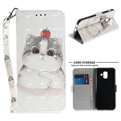 Cute Tomato Cat 3D Painted Leather Wallet Phone Case for Samsung Galaxy A6 (2018)