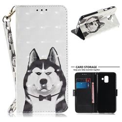 Husky Dog 3D Painted Leather Wallet Phone Case for Samsung Galaxy A6 (2018)