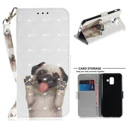 Pug Dog 3D Painted Leather Wallet Phone Case for Samsung Galaxy A6 (2018)