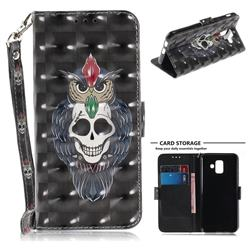 Skull Cat 3D Painted Leather Wallet Phone Case for Samsung Galaxy A6 (2018)