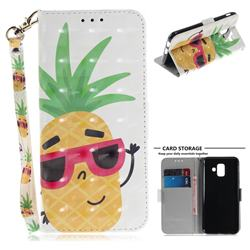 Pineapple Glasses 3D Painted Leather Wallet Phone Case for Samsung Galaxy A6 (2018)