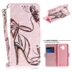 Butterfly High Heels 3D Painted Leather Wallet Phone Case for Samsung Galaxy A6 (2018)