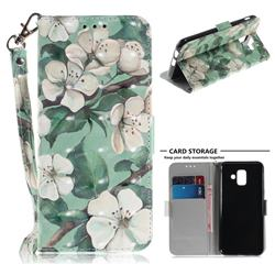 Watercolor Flower 3D Painted Leather Wallet Phone Case for Samsung Galaxy A6 (2018)