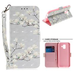Magnolia Flower 3D Painted Leather Wallet Phone Case for Samsung Galaxy A6 (2018)