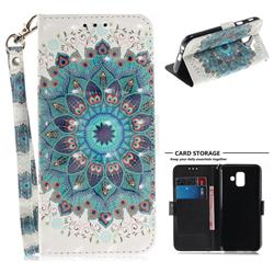 Peacock Mandala 3D Painted Leather Wallet Phone Case for Samsung Galaxy A6 (2018)