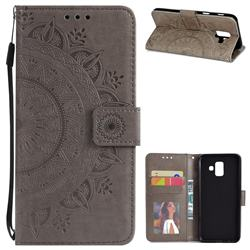 Intricate Embossing Datura Leather Wallet Case for Samsung Galaxy A6 (2018) - Gray