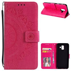 Intricate Embossing Datura Leather Wallet Case for Samsung Galaxy A6 (2018) - Rose Red