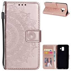 Intricate Embossing Datura Leather Wallet Case for Samsung Galaxy A6 (2018) - Rose Gold