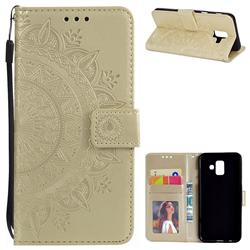Intricate Embossing Datura Leather Wallet Case for Samsung Galaxy A6 (2018) - Golden