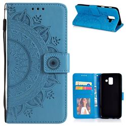 Intricate Embossing Datura Leather Wallet Case for Samsung Galaxy A6 (2018) - Blue