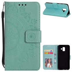 Intricate Embossing Datura Leather Wallet Case for Samsung Galaxy A6 (2018) - Mint Green