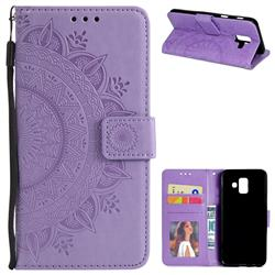 Intricate Embossing Datura Leather Wallet Case for Samsung Galaxy A6 (2018) - Purple