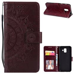 Intricate Embossing Datura Leather Wallet Case for Samsung Galaxy A6 (2018) - Brown