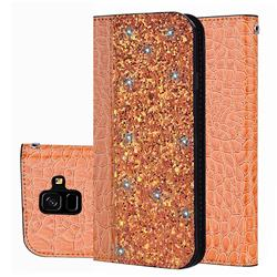 Shiny Crocodile Pattern Stitching Magnetic Closure Flip Holster Shockproof Phone Cases for Samsung Galaxy A6 (2018) - Gold Orange
