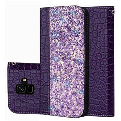 Shiny Crocodile Pattern Stitching Magnetic Closure Flip Holster Shockproof Phone Cases for Samsung Galaxy A6 (2018) - Purple