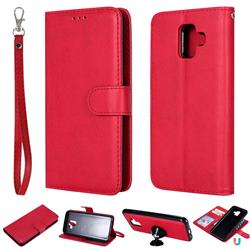 Retro Greek Detachable Magnetic PU Leather Wallet Phone Case for Samsung Galaxy A6 (2018) - Red