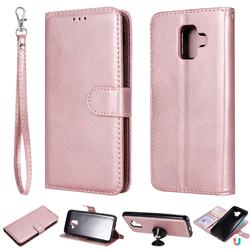 Retro Greek Detachable Magnetic PU Leather Wallet Phone Case for Samsung Galaxy A6 (2018) - Rose Gold