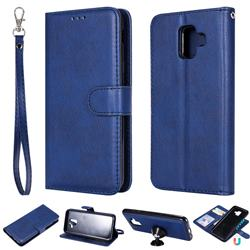 Retro Greek Detachable Magnetic PU Leather Wallet Phone Case for Samsung Galaxy A6 (2018) - Blue