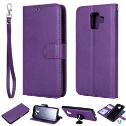 Retro Greek Detachable Magnetic PU Leather Wallet Phone Case for Samsung Galaxy A6 (2018) - Purple