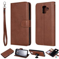 Retro Greek Detachable Magnetic PU Leather Wallet Phone Case for Samsung Galaxy A6 (2018) - Brown