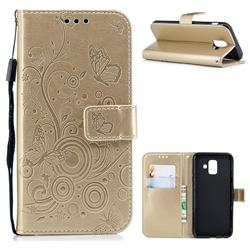 Intricate Embossing Butterfly Circle Leather Wallet Case for Samsung Galaxy A6 (2018) - Champagne