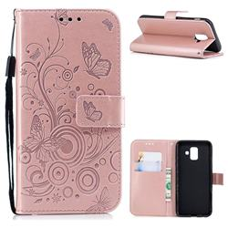 Intricate Embossing Butterfly Circle Leather Wallet Case for Samsung Galaxy A6 (2018) - Rose Gold