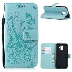 Intricate Embossing Butterfly Circle Leather Wallet Case for Samsung Galaxy A6 (2018) - Cyan