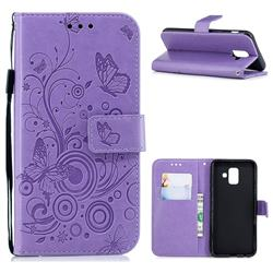 Intricate Embossing Butterfly Circle Leather Wallet Case for Samsung Galaxy A6 (2018) - Purple