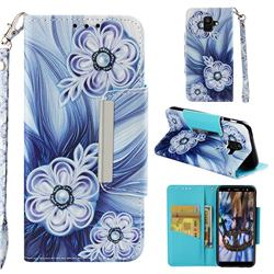 Button Flower Big Metal Buckle PU Leather Wallet Phone Case for Samsung Galaxy A6 (2018)