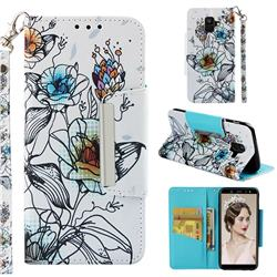 Fotus Flower Big Metal Buckle PU Leather Wallet Phone Case for Samsung Galaxy A6 (2018)