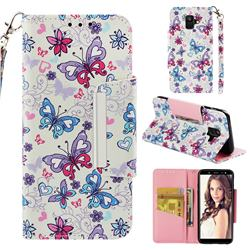Colored Butterfly Big Metal Buckle PU Leather Wallet Phone Case for Samsung Galaxy A6 (2018)