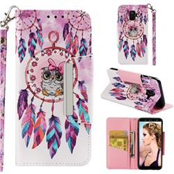 Owl Wind Chimes Big Metal Buckle PU Leather Wallet Phone Case for Samsung Galaxy A6 (2018)