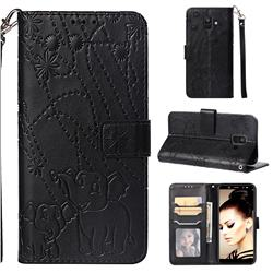 Embossing Fireworks Elephant Leather Wallet Case for Samsung Galaxy A6 (2018) - Black
