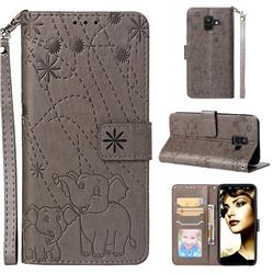 Embossing Fireworks Elephant Leather Wallet Case for Samsung Galaxy A6 (2018) - Gray
