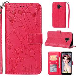 Embossing Fireworks Elephant Leather Wallet Case for Samsung Galaxy A6 (2018) - Red