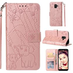 Embossing Fireworks Elephant Leather Wallet Case for Samsung Galaxy A6 (2018) - Rose Gold