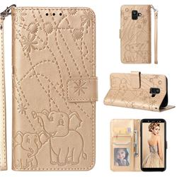Embossing Fireworks Elephant Leather Wallet Case for Samsung Galaxy A6 (2018) - Golden