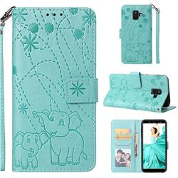 Embossing Fireworks Elephant Leather Wallet Case for Samsung Galaxy A6 (2018) - Green