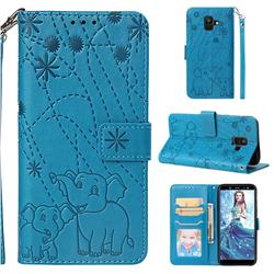Embossing Fireworks Elephant Leather Wallet Case for Samsung Galaxy A6 (2018) - Blue