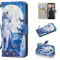 Ice Wolf 3D Painted Leather Wallet Phone Case for Samsung Galaxy A6 (2018)