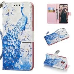 Blue Peacock 3D Painted Leather Wallet Phone Case for Samsung Galaxy A6 (2018)