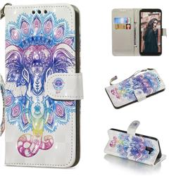 Colorful Elephant 3D Painted Leather Wallet Phone Case for Samsung Galaxy A6 (2018)