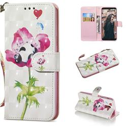Flower Panda 3D Painted Leather Wallet Phone Case for Samsung Galaxy A6 (2018)