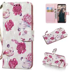 Flamingo 3D Painted Leather Wallet Phone Case for Samsung Galaxy A6 (2018)
